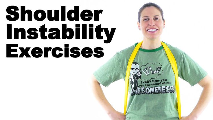 Shoulder instability often comes from a shoulder dislocation. If you dislocate your shoulder once, you have a very high probability of dislocating it again. These exercises should help keep it in place, by strengthening all the muscles around the shoulder joint. See Doctor Jo's blog post about this at: http://www.askdoctorjo.com/content/shoulder-instability-exercises