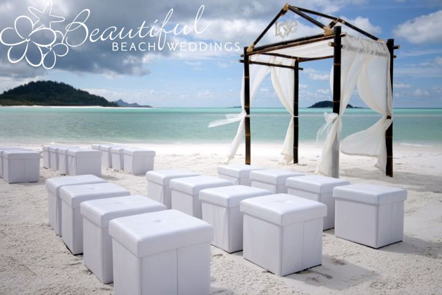 Our chocolate bamboo arbour on the stunning Whitehaven Beach, Whitsunday Island in Queensland.