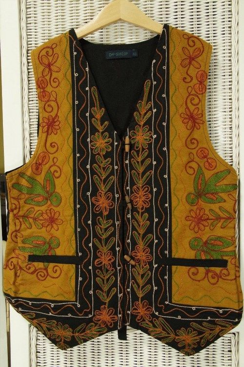 """25.18$  Watch here - http://viliv.justgood.pw/vig/item.php?t=o5kz7848589 - DW-SHOP Waistcoat Chain-Stitch Embroidery Boho Ethnic Vest Size Small 34"""" Bust 25.18$"""