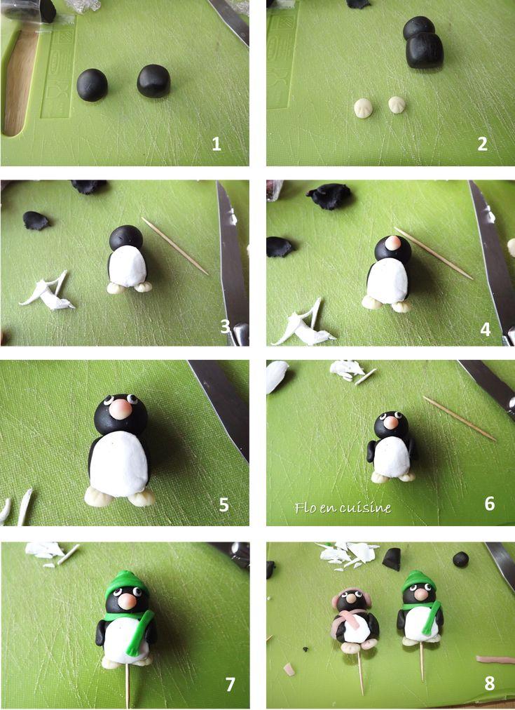 Faire un pingouin en pâte à sucre