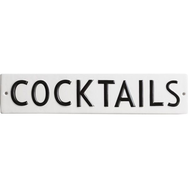Rosanna COCKTAILS Vintage Word Play Wall Décor In Porcelain featuring polyvore, home, home decor, wall art, white wall art, word wall art, interior wall decor and personalized plaques