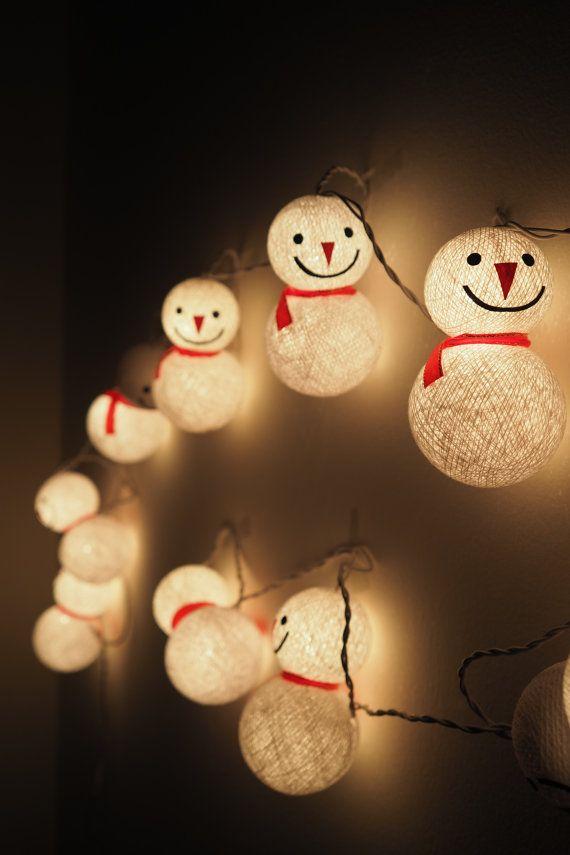 SALE Handmade Cute Snowman Cotton ball String Lights Fairy lights Party Decor Wedding Garden Spa and Holiday Lighting