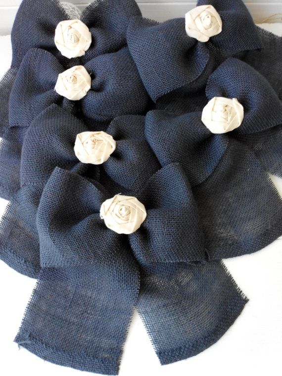 Burlap Bow NAVY BLUE Rustic Wedding Fabric Rose Set by BrightBride
