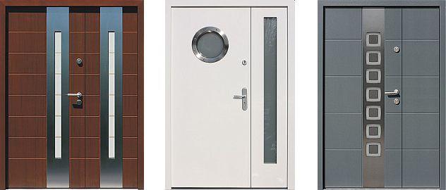 Przykładowe wzory drzwi zewnętrzne z aplikacjami ze stali nierdzewnej INOX