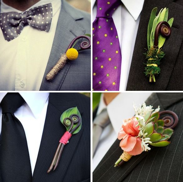 Fiddlehead fern is a great accent for boutonnieres!