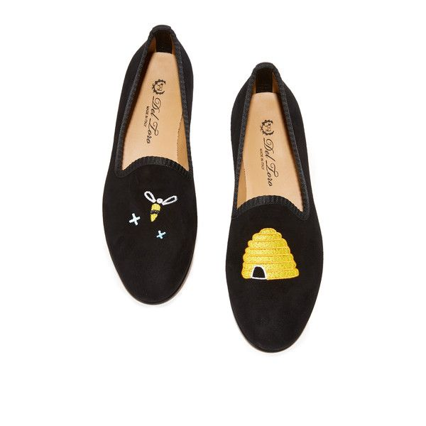 Del Toro Honey Pot Flats (265,680 KRW) ❤ liked on Polyvore featuring shoes, flats, black, leather flat shoes, striped flats, striped flat shoes, black shoes and del toro shoes