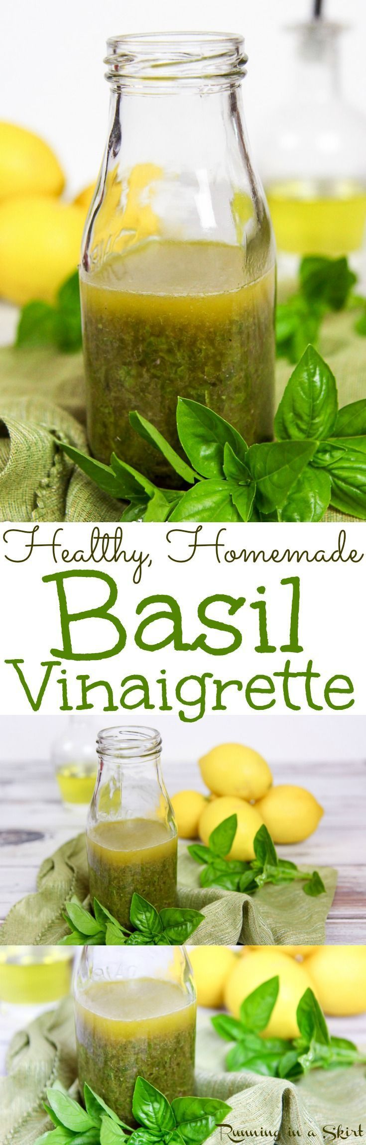 Healthy Fresh Lemon Basil Salad Dressing recipe. Homemade with only 5 ingredients! This simple vinaigrette recipe will be your go-to for salads, lunches, dinners or bowls with veggies like buddha bowls. Uses olive oils and red wines vinegar. Vegetarian, Vegan, Gluten Free/ Running in a Skirt