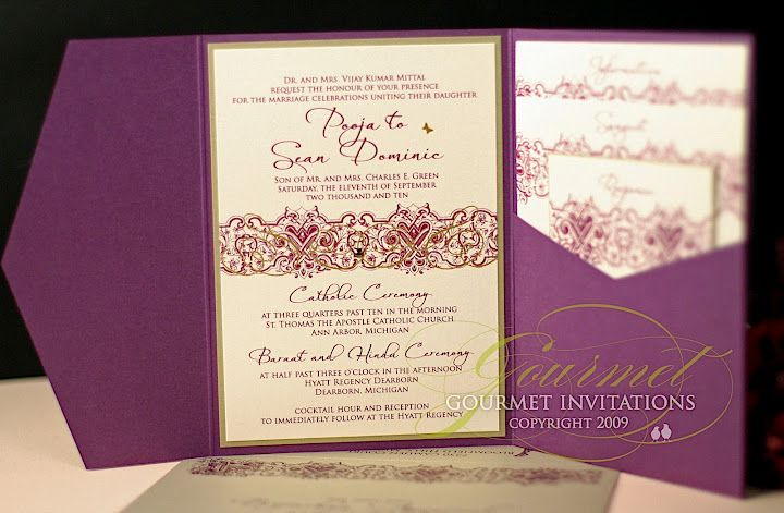 Pooja + Sean: Indian Inspired Purple and Gold Pocketfolds By Gourmet Invitations Blog