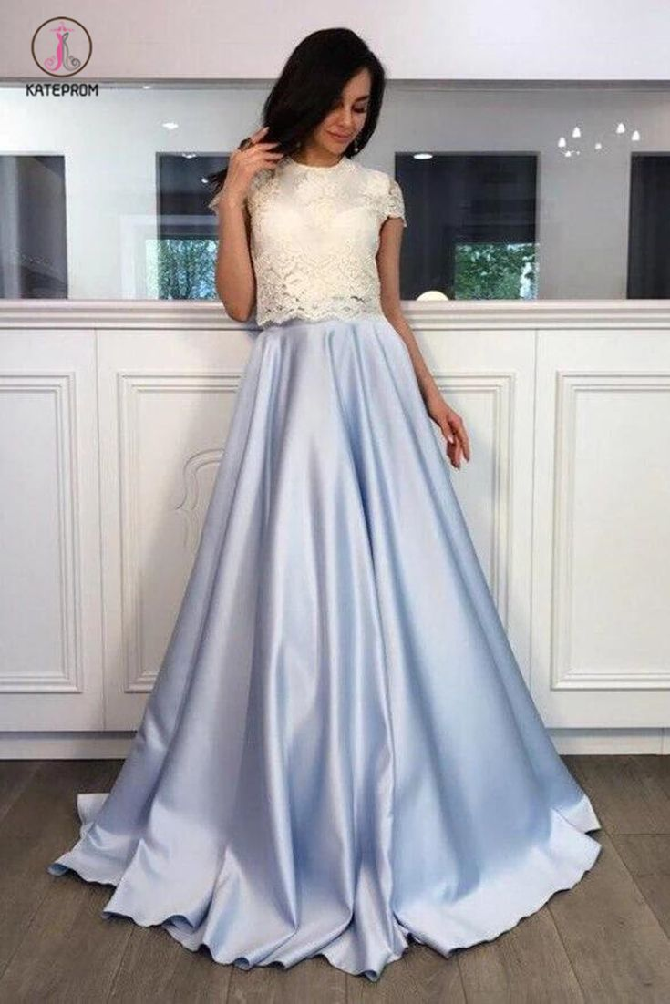 A Line Light Blue Two Piece Short Sleeves Round Neck Satin Prom Dress With Lace Kpp0378 Satin Prom Dress Prom Dresses Two Piece Lace Short Sleeve Top [ 1102 x 735 Pixel ]