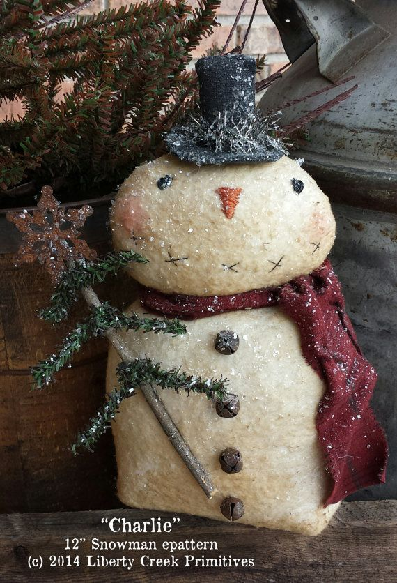 Instant Download Primitive Charlie Snowman by libertycreek, $7.50