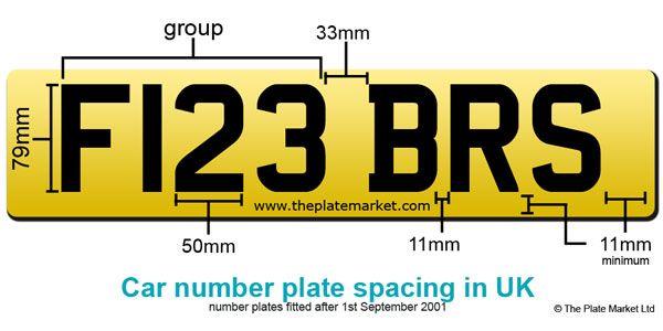 Number Plate Spacing - Guide to Personalised Number Plates in UK. DVLA number plate law