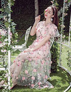 signere ny tung broderte blomster perspektiv 3d håndlaget blomst jente kjole rosa kjole kvinne