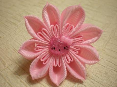 Объемные Цветы Канзаши из Лент 2.5 см. Резинка для Волос. / Flowers. /Tutorial. KANZASHI. /DIY.