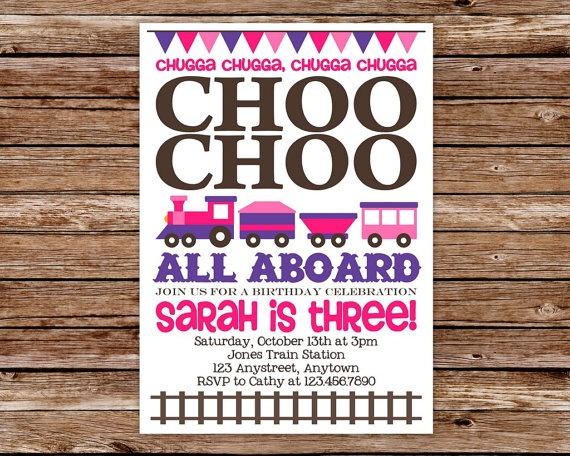 12 best Train Birthday Party Girl images – Choo Choo Train Birthday Invitations