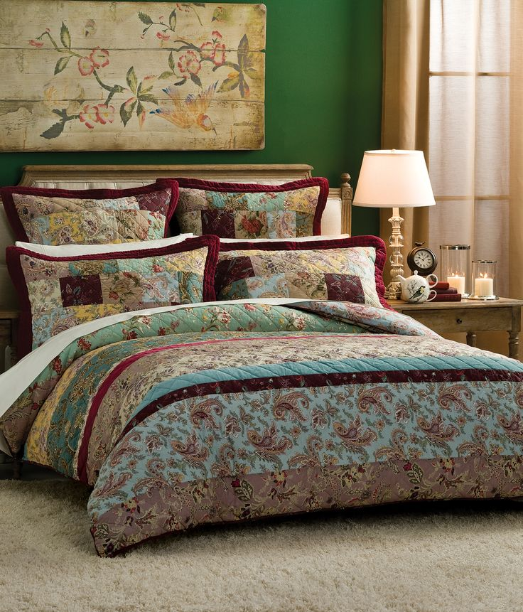Elegant paisley print inspired by the Orient for a rich, textural look in the bedroom #bedbathntable