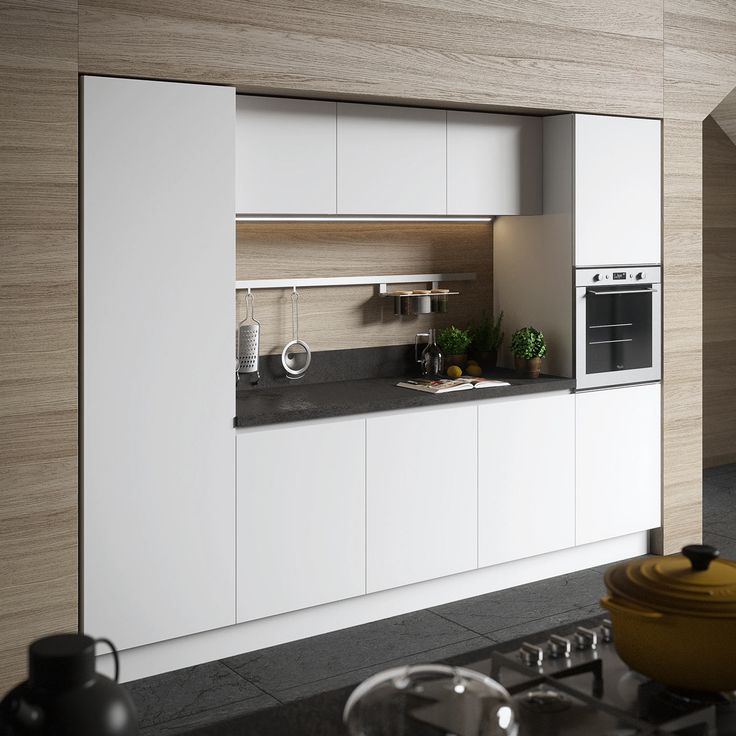 This Modern White Kitchen With A Textured Countertop Is