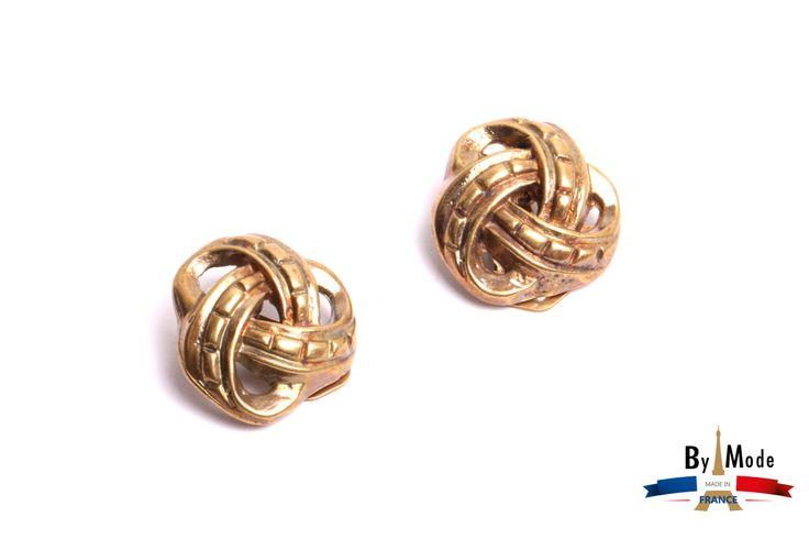 Boucle d'oreille cabochon torsade métal argenté ou doré boucle à pince fait main par by mode France. de la boutique ByModeFrance sur Etsy