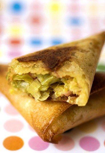 Brick au thon : feuille de brick thon poireau, recette de brick thon poireau - Recette brick, filo, galette de riz - cuisine emballée: papillote, feuilété wrap... - aufeminin