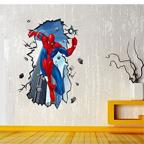 Goog 3d Spiderman Childrens Bedroom Wall Stickers Size: 23 X 35in. @ niftywarehouse.com #NiftyWarehouse #Spiderman #Marvel #ComicBooks #TheAvengers #Avengers #Comics