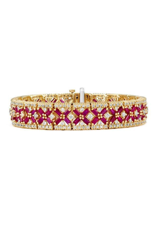 Effy Gemma 14K Yellow Gold Ruby and Diamond Bracelet, 14.10 TCW - Final Call - Specials