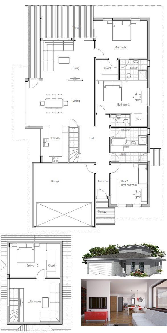 Small Modern House Plan, four bedrooms modern architecture. Floor Plan