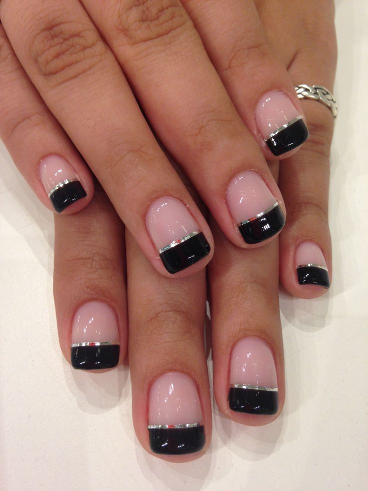 Black Gel Nails With One Silver Glitter Nail: Black French Tips In Bio Sculpture Gel Colour: #2017