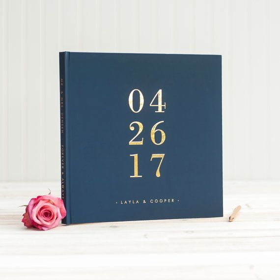 Navy And Gold Wedding Guest Book With Real Gold Foil