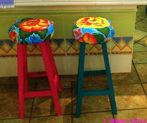 Tall Outdoor Bar Stools Mexican Oil Cloth Is Available All Over Mexico I Bought Mine At The Local Fabric Store For 30 Mxn Per Meter 250 Usd A150 I Have Also Noticed It For Farmhouse Style Bar Stools