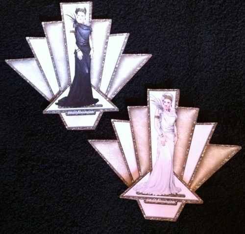 2 x Large Debbi Moore Art Deco Decoupage Toppers 1 Black 1 White  160gsm card
