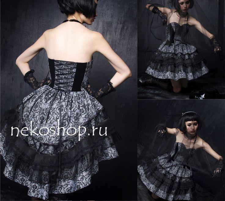 Готическое платье со шлейфом New darkness star