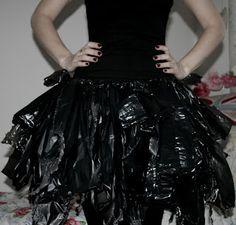 Easy DIY  Witch No Sew Halloween Costume Using Household Items 1 pair of black tights/leggings + 1 black top + 3 black bin bags + a pair of scissors