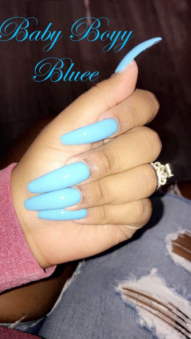 Baby Blue Long Coffin Acrylic Brebraxkin On Insta Baby Blue Nails Long Acrylic Nails Coffin Blue Acrylic Nails