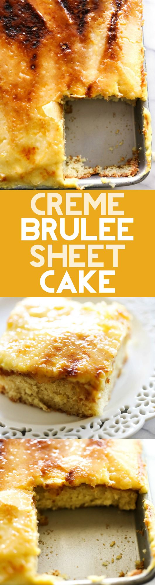 This Creme Brûlée Sheet Cake will be one of the best things you EVER eat! It is a vanilla bean cake topped with vanilla bean custard that has that one of a kind crisp and cracking caramelized creme brûlée sugar shell topping. This dessert is a complete show stopper!