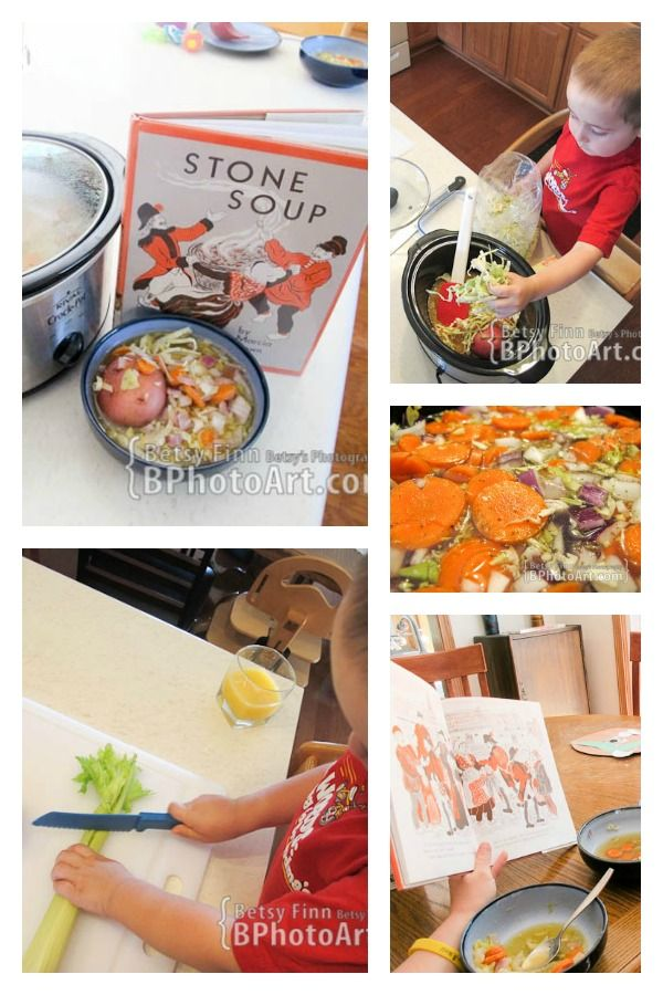 Making Crock Pot Soup with kids to bring alive the book Stone Soup alive.