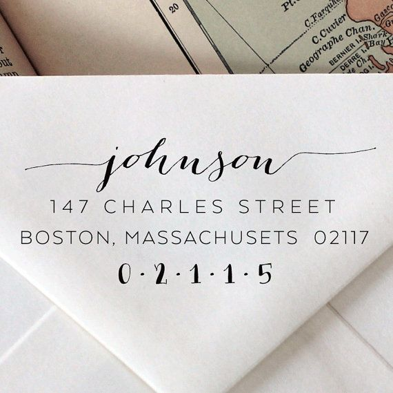 Love the variation in text // #Custom #Calligraphy Stamp: #Wedding Stationary Wood Stamp, Engraved, Address, Stationary on Etsy, $20.95
