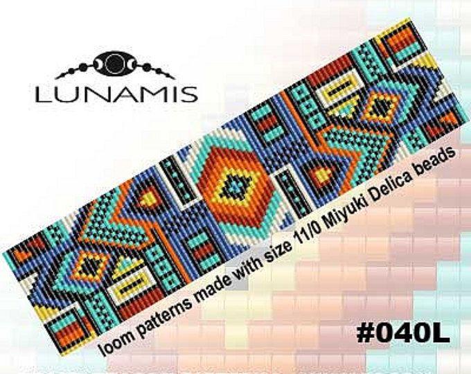 Loom bracelet pattern, loom pattern, square stitch pattern, pdf file, pdf pattern, cuff, #040L