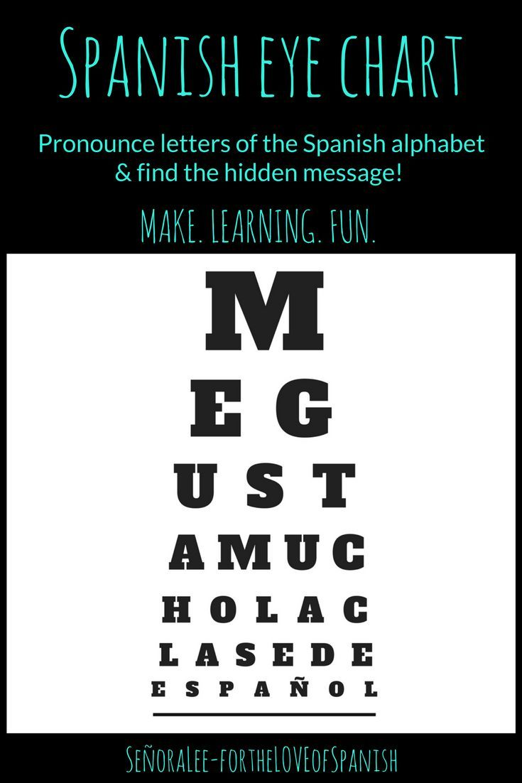 Spanish Alphabet Eye Chart Make Reciting The Letters Of The Spanish Alphabet Fun Tape The Post Spanish Alphabet Learning Spanish Spanish Alphabet Activities [ 1102 x 735 Pixel ]