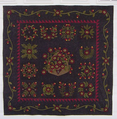 backyard gathering wool applique block of the month quilt
