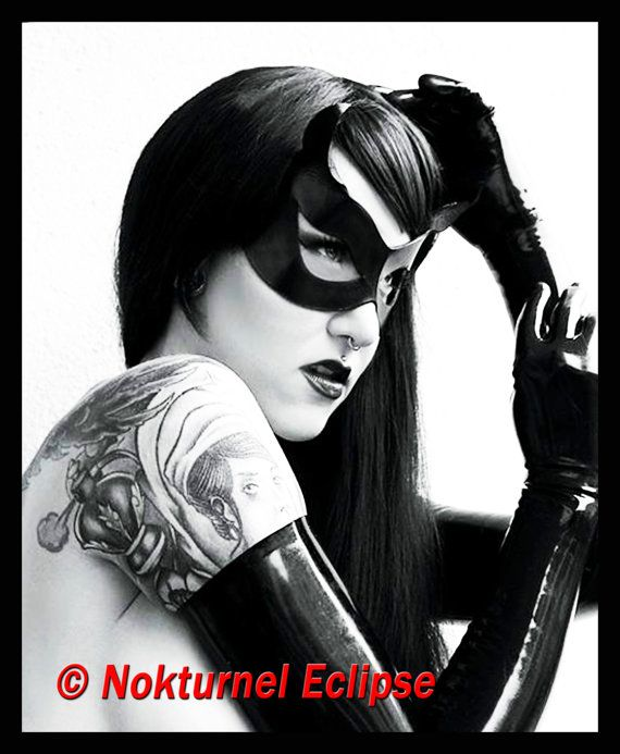 Black Catwoman Leather Mask with Little Cat Ears Batgirl Masquerade Fetish Comic Con Cosplay Superhero Halloween Costume on Etsy, $34.99