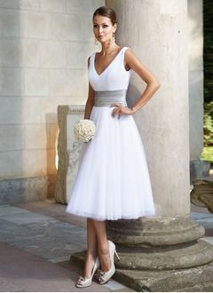 A-Line/Princess V-neck Tea-Length Tulle Wedding Dress With Ruffle Sash