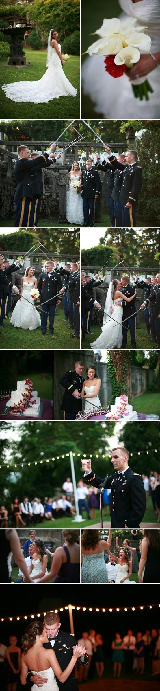 army wedding | sorority flower in bouquet | saber arch wedding | toasts    wedding in Knoxville, TN   Photo by Shannon Kelley