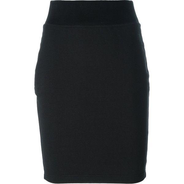 Nike Nikelab essentials skirt ($140) ❤ liked on Polyvore featuring skirts, black, straight skirt, elastic waist skirt, pull on skirts, nike skirt and nike