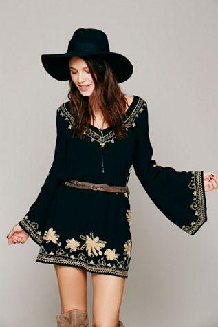 Very stylish mini skirt embroidered dress with hat