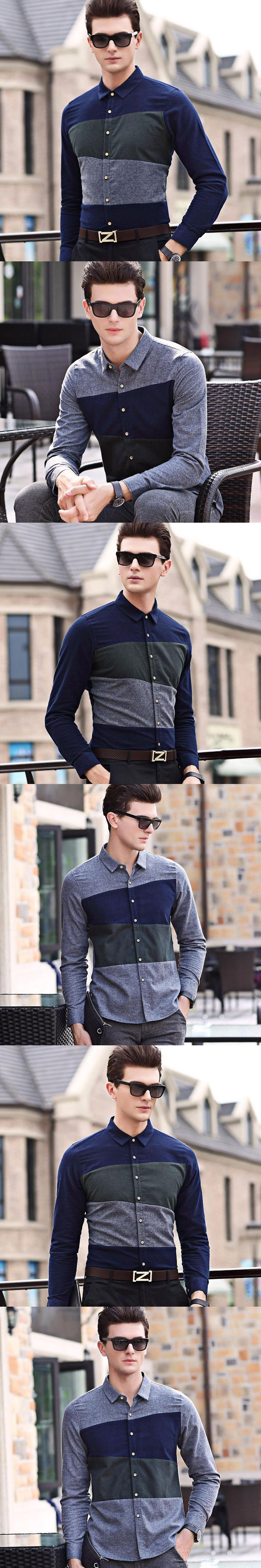 2017 Autumn Spring Men's Fashion Colors Patchwork Long Sleeve Shirts 100% Cotton Formal Dress Shirt Male Casual Striped Shirts