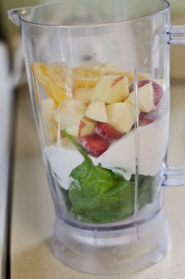 Green Smoothie. 1 apple 1 banana 1 cup yogurt (I used plain Greek) 5 strawberries 1/2 an orange 2 handfuls of spinach