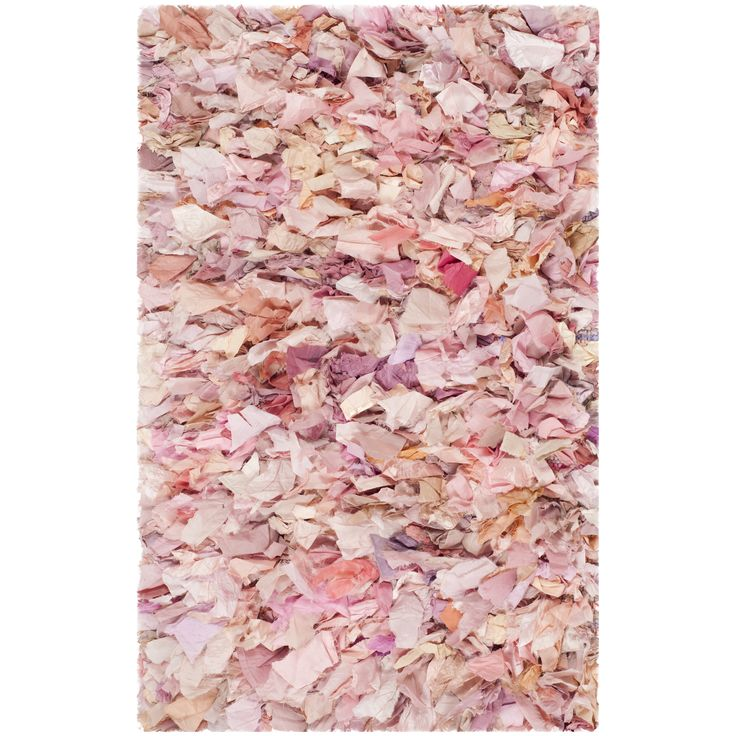 Bungalow Rose Messiah Ivory/Pink Shag Area Rug