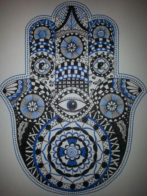 Hamsa hand Doodle Zentangle