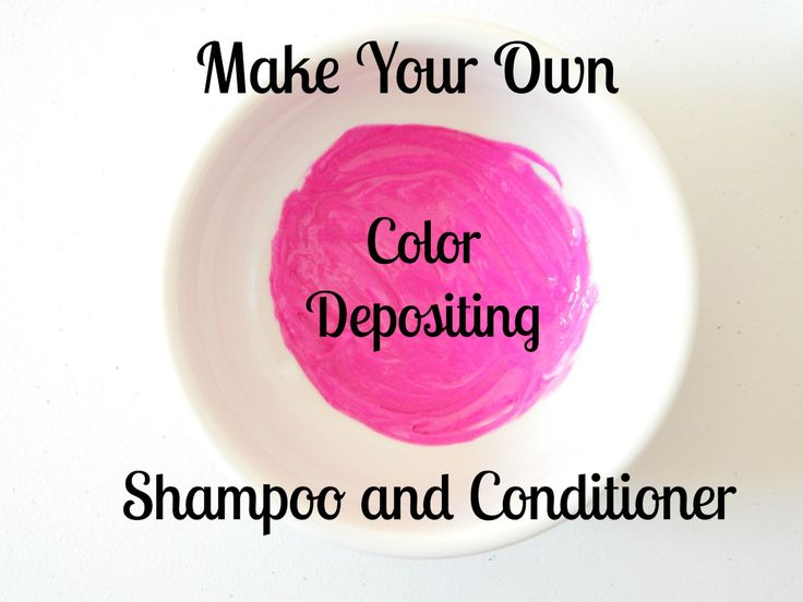 Make your own color depositing shampoo and conditioner with this recipe using regular hair products and bright colored dye.