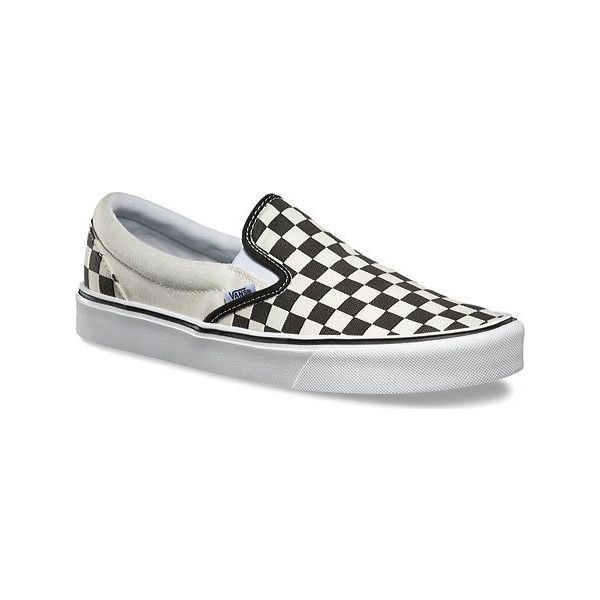 Vans Slip-On Lite - Black/Classic White Checkerboard Casual Shoes ($55) ❤ liked on Polyvore featuring shoes, sneakers, casual footwear, casual shoes, slip-on sneakers, black sneakers, white slip on sneakers, white sneakers and vans trainers
