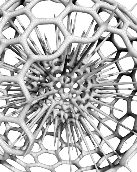 Complex examples/ radiolarian. Exoskeleton2 is collection of mesh generation components for Grasshopper. Its components are used to either wrap or thicken existing geometric elements in the modelling space. It also relies upon the libraries Rhinocommon for functionality in Rhino and Plankton for n-gon, half-edge mesh operations. download here https://github.com/davestasiuk/Exoskeleton2